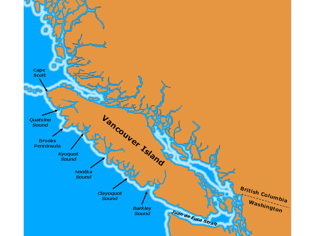 Up The West Coast Of Vancouver Island - Us west coast vancouver island map